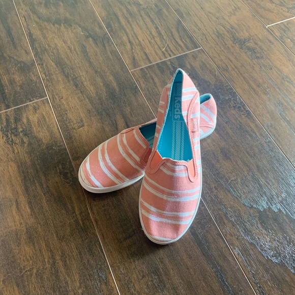 Keds Shoes - Size 6 pink and white striped Keds